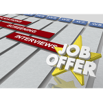 Image has gold star with overlay of words Job Offer.
